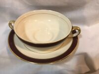 11pc Fondeville Ambassador Ware Double-Handle Soup Cups and Saucers Maroon Band