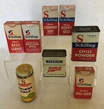 Vintage Spice Boxes, Tins & Jar - Schilling & French's - Lot of 8