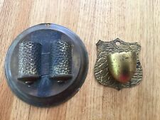Antique lot of two brass wall match holder strikers