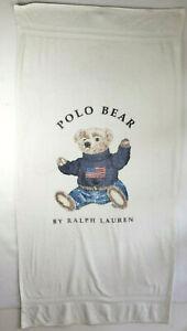 Ralph Lauren Bear Spell Out Polo USA Flag Bath Beach Towel 90s Sport