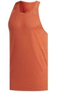 Men's New Adidas Singlet Vest Tank Sleevless T-Shirt Top - Fitness Gym - Orange
