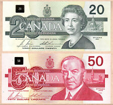 1986-1991 Bank of Canada Bird Series $2 (BRX), $5, $10, $20, $50. 5 CH-GEM Notes