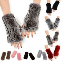 Women Winter Warm Luxury Genuine Real Rabbit Fur Wrist Fingerless Gloves Mittens