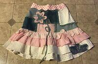 Beetlejuice Girls Skirt 4T Pink Denim Patchwork