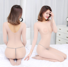 Sexy Women  Open Crotch Underwear With Body Stocking Long Sleeve Lingerie