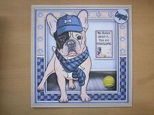 Handmade French Bulldog Card Passing Exams Congratulations Dog Puppy School Uni
