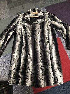 Roman Black/white/grey Fur Coat M
