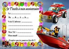 5 cartes invitation anniversaire  Lego pompier 01   d'autres en vente !!