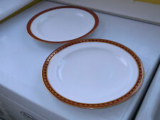 TWO ROYAL CROWN DERBY DINNER PLATES WITH A RED OVERLAID GOLD  RIM POSSIBLY 1885