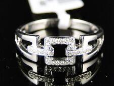 14K Womens White Gold Diamond Wedding 6 Mm Pave Round Band Designer Ring 1/10 Ct