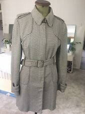 Karen Millen Trench Coat Black & White Houndstooth Size 16