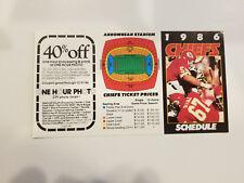 Kansas City Chiefs 1986 NFL Football Pocket Schedule - One Hour Photo