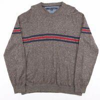 Vintage TOMMY HILFIGER Brown Cotton Striped Pullover Jumper Men's Size XL