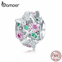 BAMOER S925 Sterling silver charm CZ Bead Dancing butterfly Fit Bracelet Jewelry