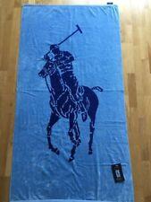 New Polo Ralph Lauren Luxury REVERSABLE Beach/Bath Towel Blue Pony HUGE!! 35X66
