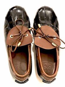 TORY BURCH Women's Duck Rain Shoes Brown Black 9.5 Luxury Leather Rubber
