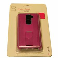 New Retail OEM Body GLOVE LG G2 Fusion Snap Case Cover with Kickstand PINK