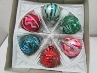 Vintage Christmas Lanissa German Glass Ornaments IOB Pink Mica Accents