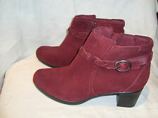 "Clarks Bendable Burgundy Suede Zip 2.5"" Heel Booties/Ankle Boots Shoes 12M NEW"