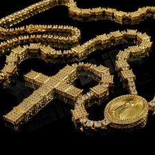 18K Gold Micro Pave CZ Iced Out ROSARY Jesus Cross Pendant Men Necklace Chain