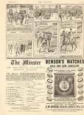 1894  ANTIQUE PRINT -ADVERT-ELLIMANS. HORSES,FOOTBALL,SKATING,RUGBY,WATCHES