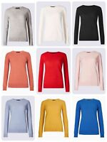 New Womens Round Neck Jumper Ex M&S Collection 6-24 UK Fine Knit 11 Colours
