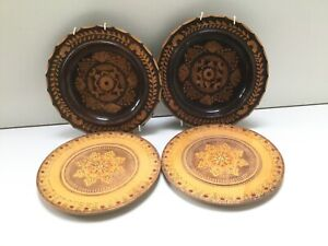 4 wooden small plates and bowls inlay