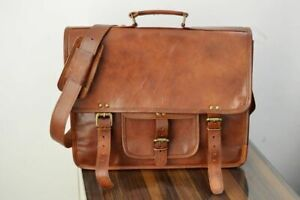 Bag Vintage Leather Men Messenger S Laptop Shoulder Satchel Briefcase Genuine