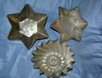 Vintage Lot Tinware 2 Star 6 Point Bunt, Cake, Molds and 1 Pinwheel Design on Bo