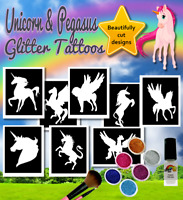 UNICORN Glitter Tattoos FREE DELIVERY beautiful stencils, glitter & glue
