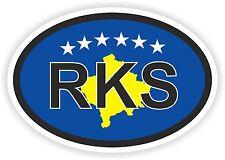 RKS Oval Kosovo Country Code Flag Sticker Helmet Car Truck Skateboard Fridge