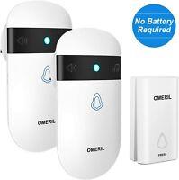 Doorbell No Battery Required, OMERIL IP55 Waterproof Door Bell Wireless Plug...