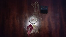Metal Dream Catcher Necklace Dangling Feather Pendant