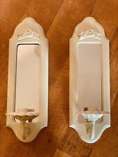 Pair Of Vintage Mirrored Wall Sconces Candle Holders Shabby Cottage Chic