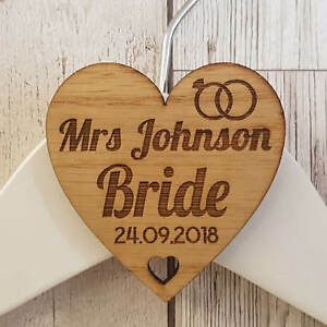 Personalised Wedding Bridal Party Wooden Heart Laser Engraved Coat Hanger Tag T2