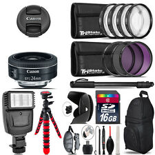 Canon EF-S 24mm f/2.8 STM Lens + Flash +  Tripod & More - 16GB Accessory Kit
