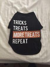 "City Streets ""Tricks, Treats"" Dog Pet T-Shirt Black White Size Medium Halloween"