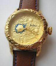 Riesige 50mm BiDen Dragon Armbanduhr Gelbgoldvergoldet ungetragen Bitte ansehen