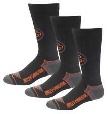 Harley-Davidson Men's Wings Coolmax Riding Socks - Black, 3 Pairs D99219370-001