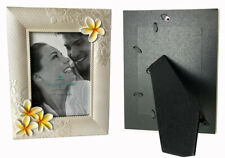 "Hawaiian Plumerias Picture Photo Frame Poly Resin 5""x7"" Wedding Aloha Hawaii Nib"
