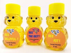 Kansas Wildflower Honey 2oz Honey Bear Variety 3 Pack Raw Pure