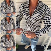 Fashion Mens Striped Slim Fit Muscle Tee Shirts Long Sleeve Casual Tops T-Shirt