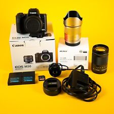 Canon EOS M50 24.1 MP Mirrorless Camera Bundle w/ 2 Lenses, Speedbooster & More