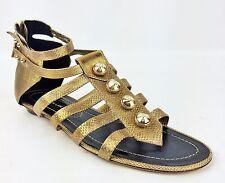 NWOB Derek Lam BronzeMetallic Leather Gladiator Flats/Sandals/Shoes Size 7 Italy