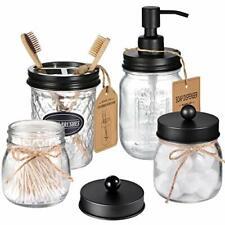 Mason Jar Bathroom Accessories Set Decorative Soap Dispenser & Toothbrush Holder