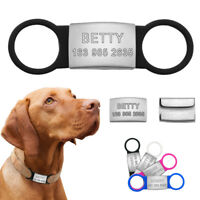 Personalised Dog Tags Pet ID Name Collar Stainless Steel Slide-on 3/4'' Engraved