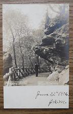 HANGING ROCK FAIRMOUNT PARK WISSAHICKON PHILA PA - Old 1906 Real Photo Postcard