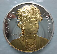 2007 CANADA THAYENDANEGEA (JOSEPH BRANT) PROOF SILVER DOLLAR GOLD PLATED COIN