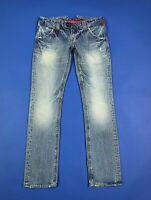 Cycle jeans donna usato kurabo denim W27 tg 41 blu gamba dritta boyfriend T6789