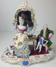 Antique Dresden Sitzendorf Large Porcelain Lady Vanity Mirror Paramour Dogs